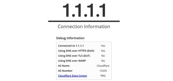 Web Cloudflare 1.1.1.1/help spolehlivě identifikuje, zda využíváte DNS-over-HTTPS