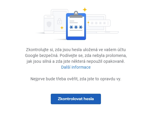 Kontrola hesel na passwords.google.com/checkup/