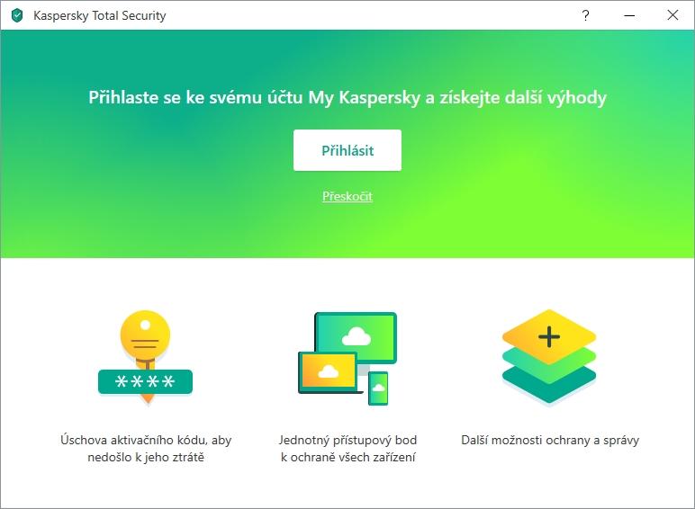 I Kaspersky Total Security tenduje k připojení uživateli ke cloudovému účtu