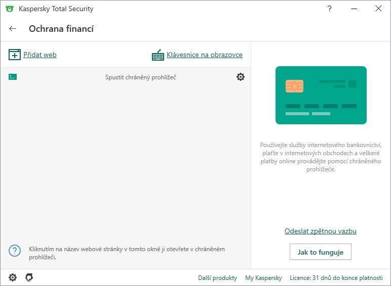 Výchozí rozhraní Ochrany financí Kaspersky Total Security umožňuje jmenovitě přidávat požadované domény