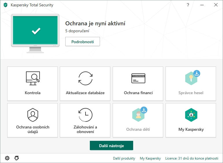 Výchozí obrazovka Kaspersky Total Security doznala jen lehkých změn z rukou grafiků