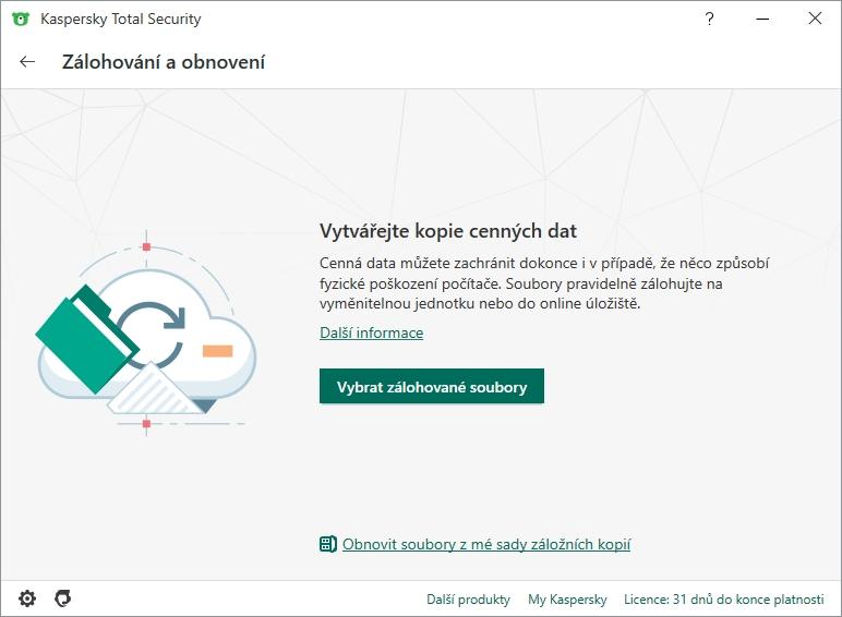 Zálohování je integrální součástí ochrany dat pomocí Kaspersky Total Security