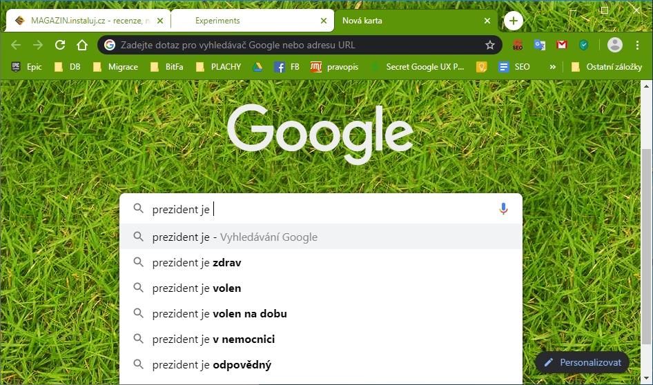 Takto vypadá skutečně fungující zadávání vyhledávacího dotazu přímo do vyhledávacího pole nového panelu Chrome