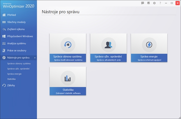 Až na Statistiky WinOptimizeru samotného jsou zde správci rozličných prvků Windows