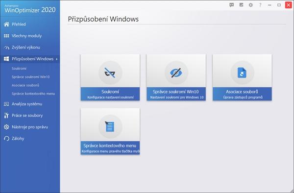Nástroje přizpůsobení Windows Ashampoo WinOptimizer