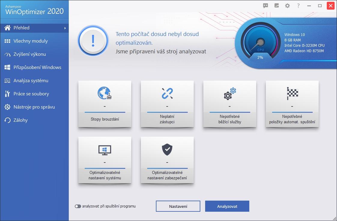 Výchozí obrazovka Ashampoo WinOptimizer