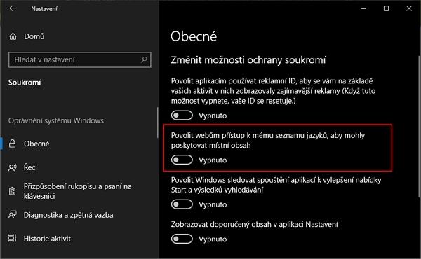 V Nastavení - Soukromí - Obecné v sekci Změnit možnosti ochrany soukromí u položky Povolit webům přístup k mému seznamu jazyků, aby mohly poskytovat místní obsah přesuňte posuvník do polohy Vypnuto