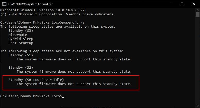 Příkazová řádka a příkaz powercfg -a nám prozradí, zda je režim Modern Standby alias Standby (S0 Low Power Idle) v systému podporován