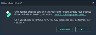 Pokud náhodou máte zastaralé ovládače grafiky, Filmora vás upozorní