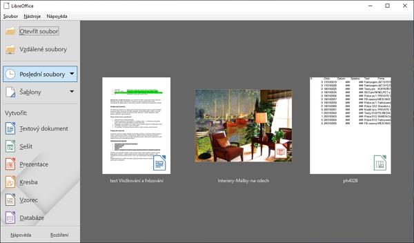 Výchozí rozhraní aplikačního balíku LibreOffice má barevnější ikonky, které přidává i do náhledů posledních dokumentů
