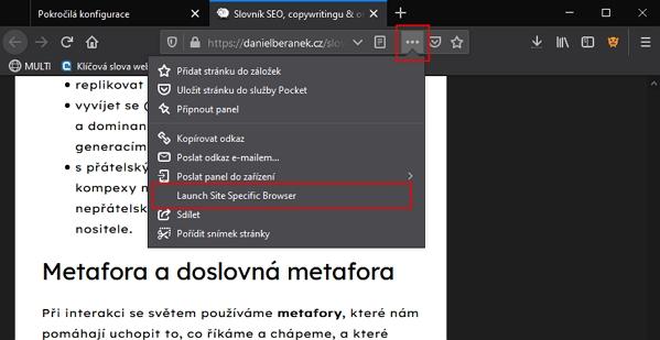 Konkrétní podstránku (či celý web) spustíme přes ikonku 3 teček vedle adresního řádku Firefoxu