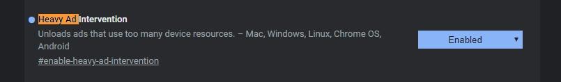 Navigujeme chrome://flags - Heavy Ad Intervention - Enabled - restart Chrome