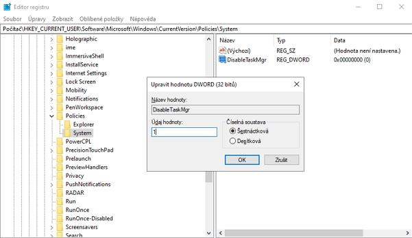 Navigujeme WIN + R - regedit - Počítač\HKEY_CURRENT_USER\Software\Microsoft\Windows\CurrentVersion\Policies\System - vytvoříme hodnotu DisableTaskMgr - nastavíme Údaj hodnoty na 1 - potvrdíme - zavřeme Editor registru - odhlásíme a znovu přihlásíme uživatele