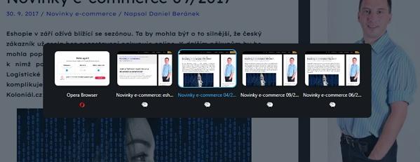 Vizuální přepínač panelů se objeví při použití klávesové zkratky CTRL + TAB