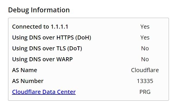 Když je systém připojen k resolveru podporujícím DNS-over-HTTPS, povýší browser překlad názvu domén na šifrovaný