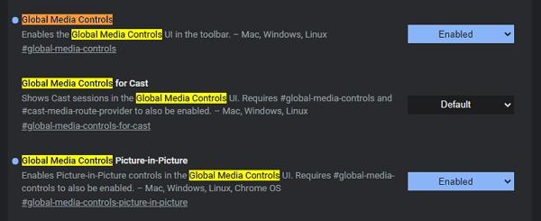 Navigujeme chrome://flags - Global Media Controls a Global Media Controls Picture-in-Picture
