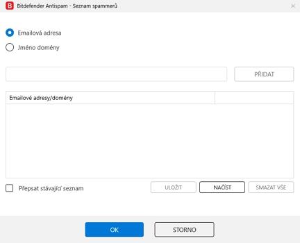 Blacklist spammerů lze rozšiřovat o konkrétní emaily, celé domény či importem