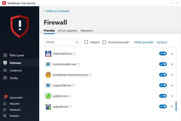 Firewall: síťová pravidla pro jednotlivé aplikace, síťové adaptéry a směry toku dat