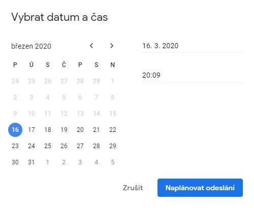 Vybrat k odeslání lze v podstatě jakékoliv datum a čas v budoucnosti