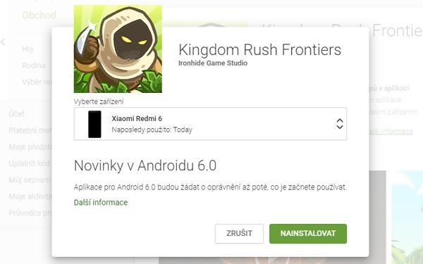 Google Play nabídne výběr z aktivně spárovaných zařízení (Zdroj: Google Play)