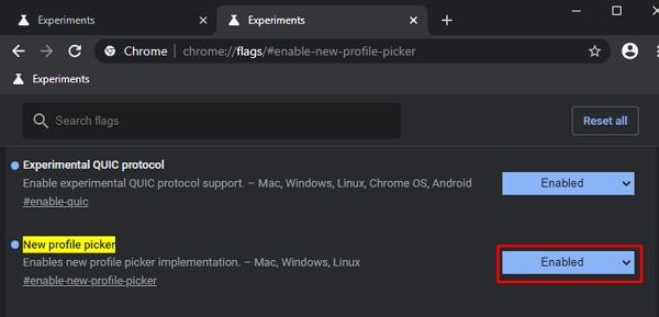 V experimentálních nastaveních chrome://flags navigujeme k položce New profile picker, povolíme Enabled a restartujeme Chrome