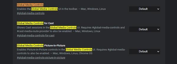Otevřeme experimentální nastavení chrome://flags a vyhledáme všechny položky Global Media Controls