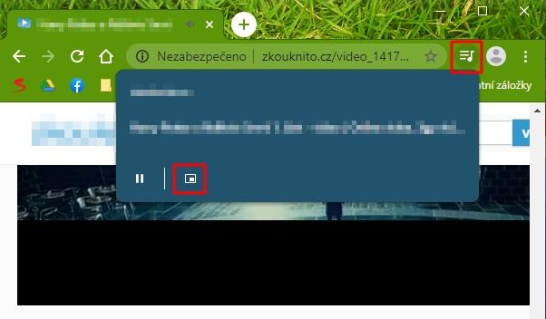 Spustíme video, odklikneme objevivší se ikonku Global Media Control a odklikneme režim obraz v obraze