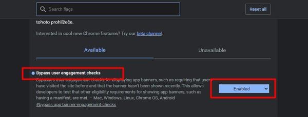 Návod k sabotáži interaktivních reklam: navigovat chrome://flags - Bypass user engagement checks - Enabled a restartovat Chrome