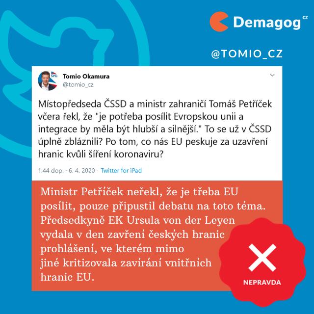 Velké lži občas doplní jednoduché pitominy (Zdroj: Demagog.cz)