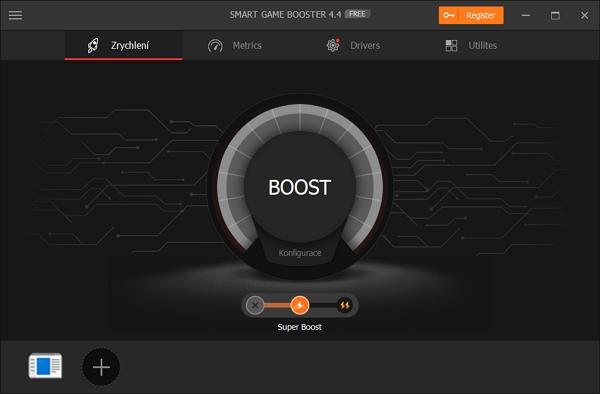 Výchozí obrazovka Smart Game Booster