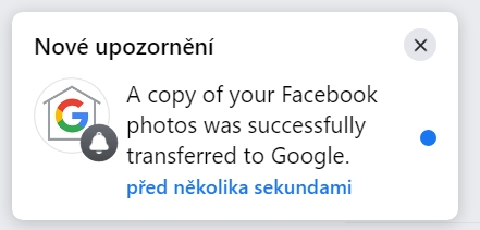 Po dokončení vás Facebook na provedení požadavku upozorní notifikací