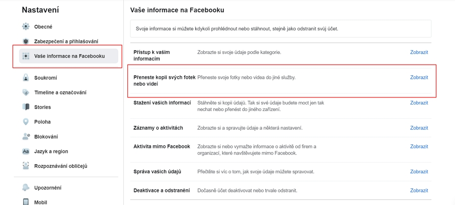 odkliknete Menu - Nastavení a soukromí - Nastavení - Vaše informace na Facebooku - Zobrazit u položky Přeneste kopii svých fotek nebo videí - zadejte své heslo - vyberte cíl přesunu - vyberte obsah a pokračujte přes Další