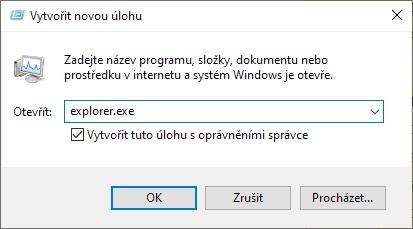 Položka Spustit novou úlohu z menu Soubor aplikace Správce úloh pomůže spustit jakoukoliv aplikaci i bez běžící shell32.dll
