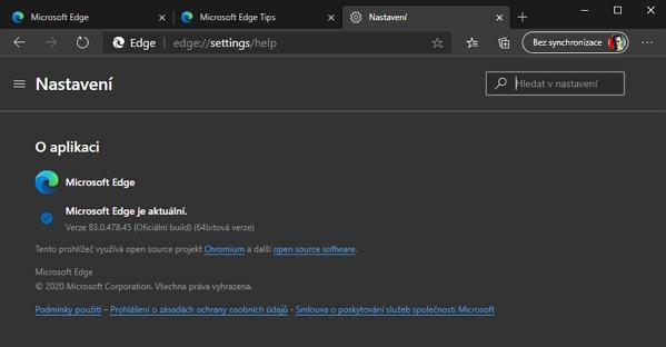 A ještě jedna kontrola, že jádro už je opravdu Chromium, a nikoliv Microsoft EdgeHTML