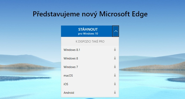 Tlačítko ke stažení Microsoft Edge nepřehlédnete
