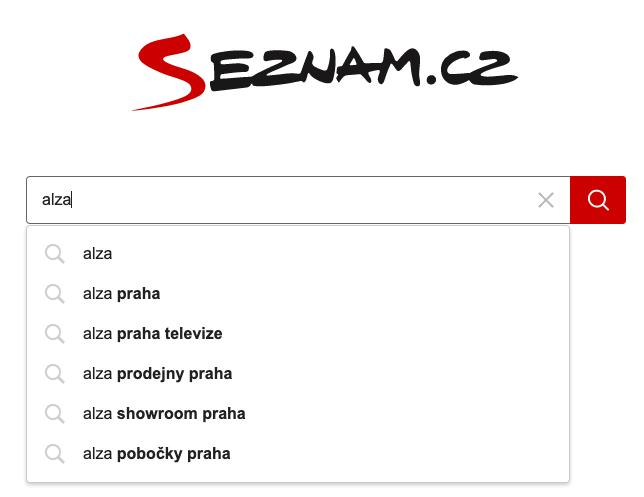 Našeptávač identifikuje polohu a spojuje objekt hledání s lokalitou - Praha (Zdroj: Seznam.cz)