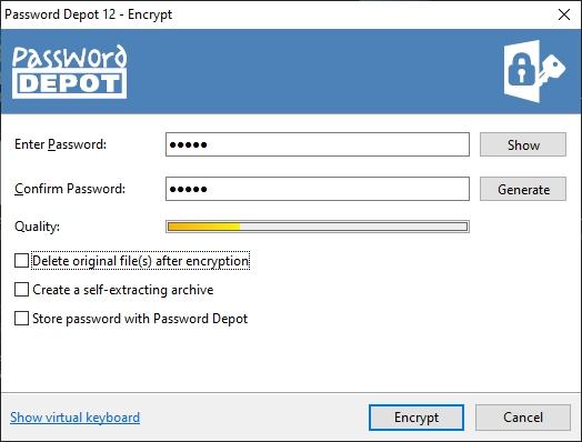Password Depot 12 - utilita, která v Pandě obstarává skartaci a šifrování dat