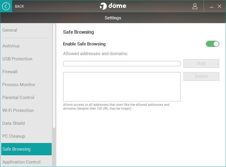 Safe Browsing se odehrává fakticky bez přístupu uživatele - konfigurace výjimek je jedinou výjimkou