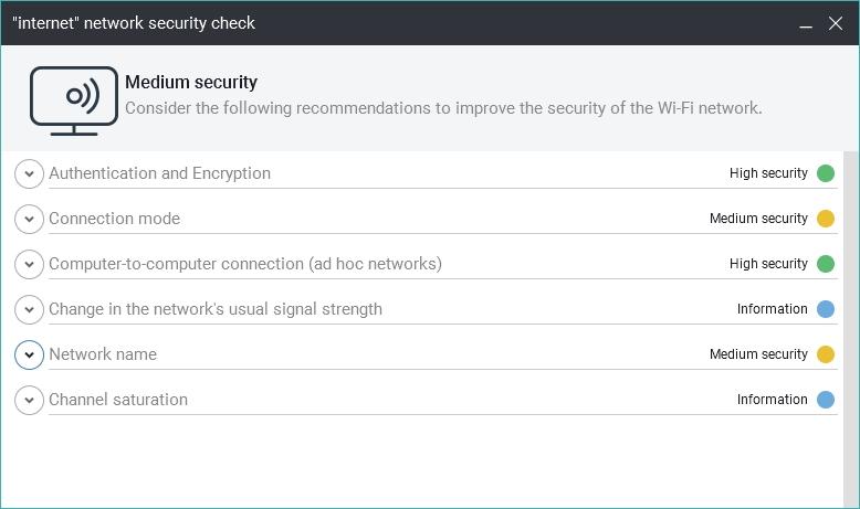 Wi-Fi Protection kategoriálně vyhodnocuje zabezpečení bezdrátového připojení