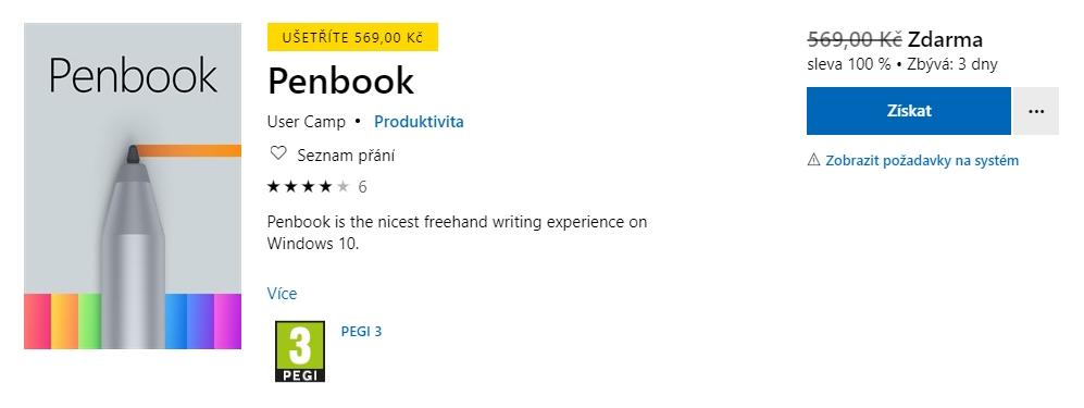 Penbook od vývojářů User Camp je nyní v akci zdarma (Zdroj: Microsoft Store)