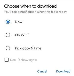 Nabídka nástroje Download Later Scheduler v anglické verzi