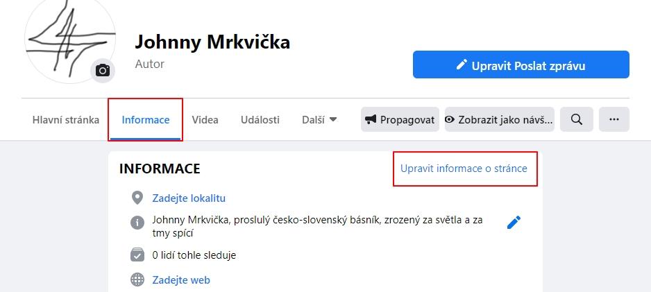 Navigujete Facebook - firemní Stránka - Informace - Upravit informace o stránce