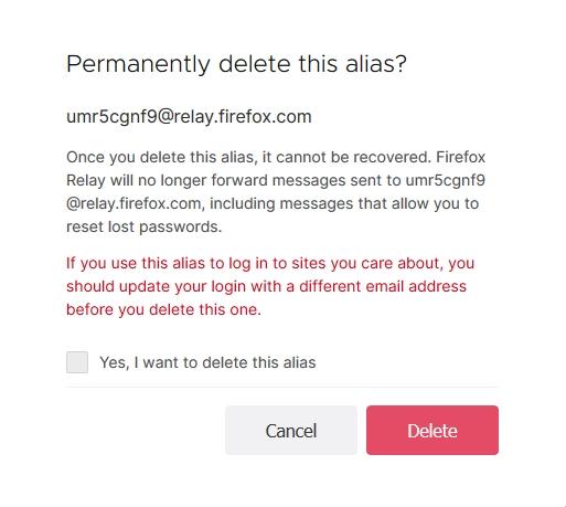 Varování před finálním smazáním aliasu (Zdroj: Firefox Relay)