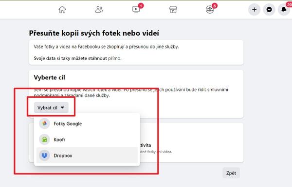 V sekci přenosu kopií vybereme cíl přenos - Dropbox či Koofr