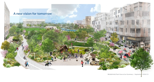 Vize Middlefield Parku v návrhu (Zdroj: Mountainview.gov)