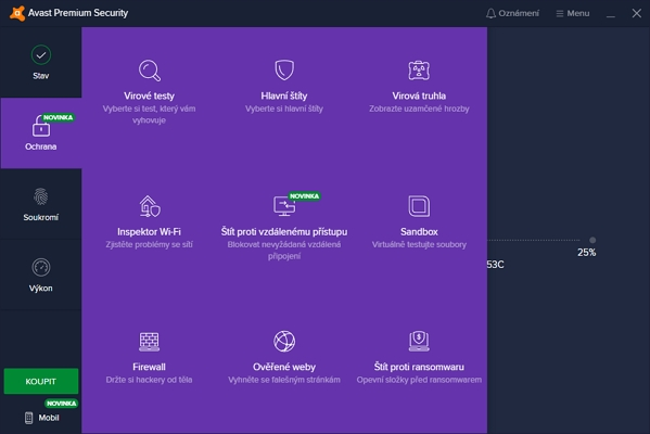 Sekce Ochrana Avast Premium Security