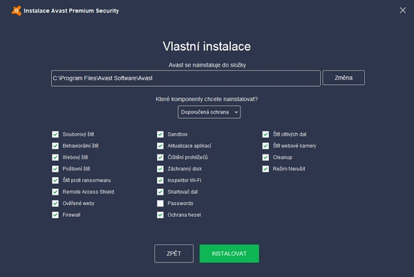 Výběr instalovatelných komponent Avast Premium Security