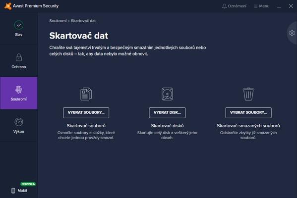 Skartovač dat umožňuje trvale smazat nejen konkrétní soubory a adresáře, ale i celé disky a již smazané soubory