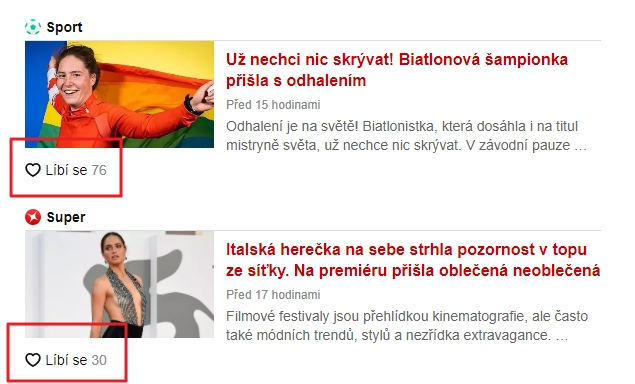 Srdíčka Líbí se na hlavní straně Seznamu (Zdroj: Seznam.cz)