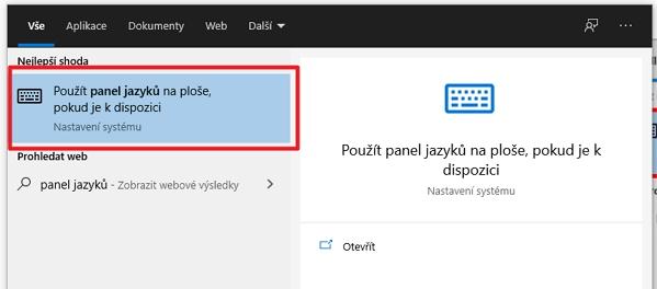 Nastavení - Zařízení - Psaní - Upřesnit nastavení klávesnice - Použít panel jazyků na ploše, pokud k dispozici - zavřít aplikaci Nastavení